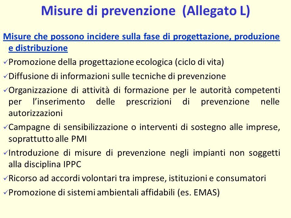 Misure di prevenzione (Allegato L)