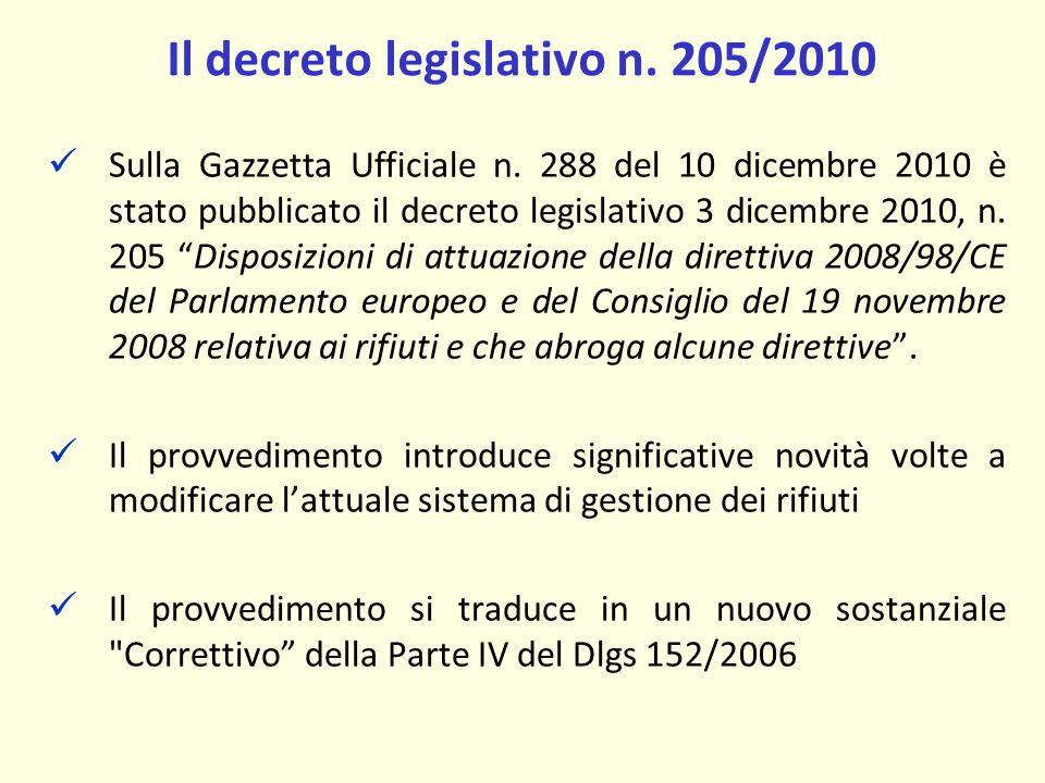 Il decreto legislativo n. 205/2010