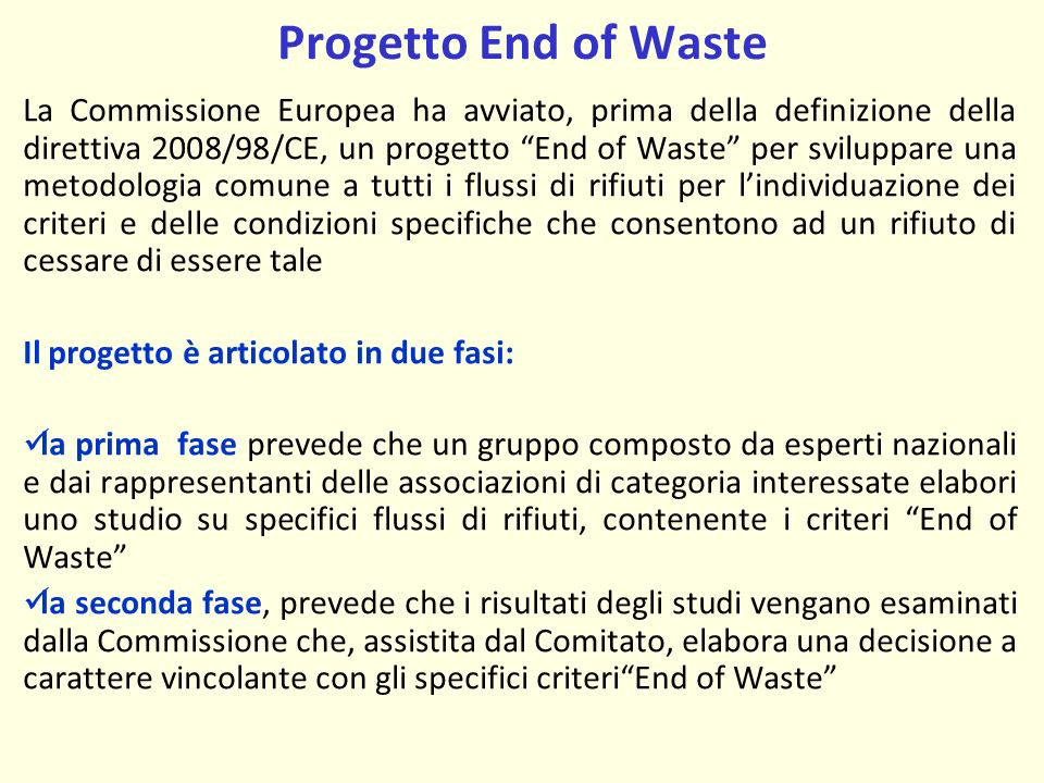 Progetto End of Waste