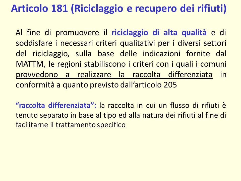 Articolo 181 (Riciclaggio e recupero dei rifiuti)