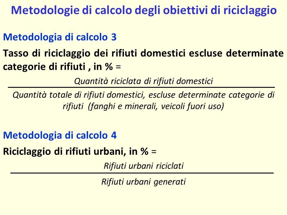 Metodologie di calcolo degli obiettivi di riciclaggio
