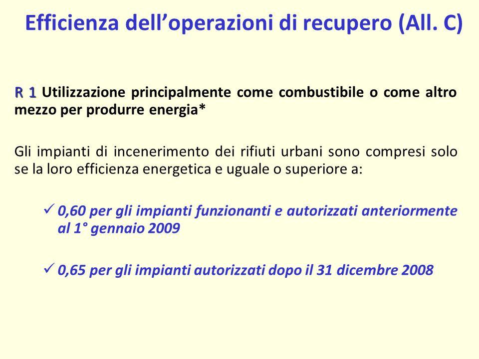 Efficienza dell'operazioni di recupero (All. C)