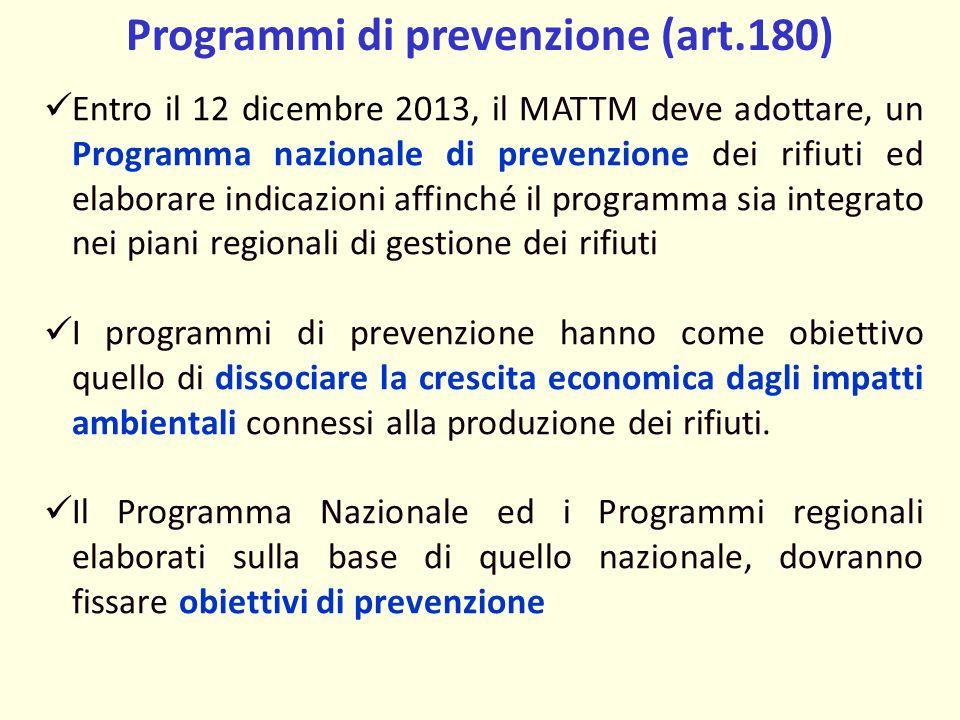 Programmi di prevenzione (art.180)