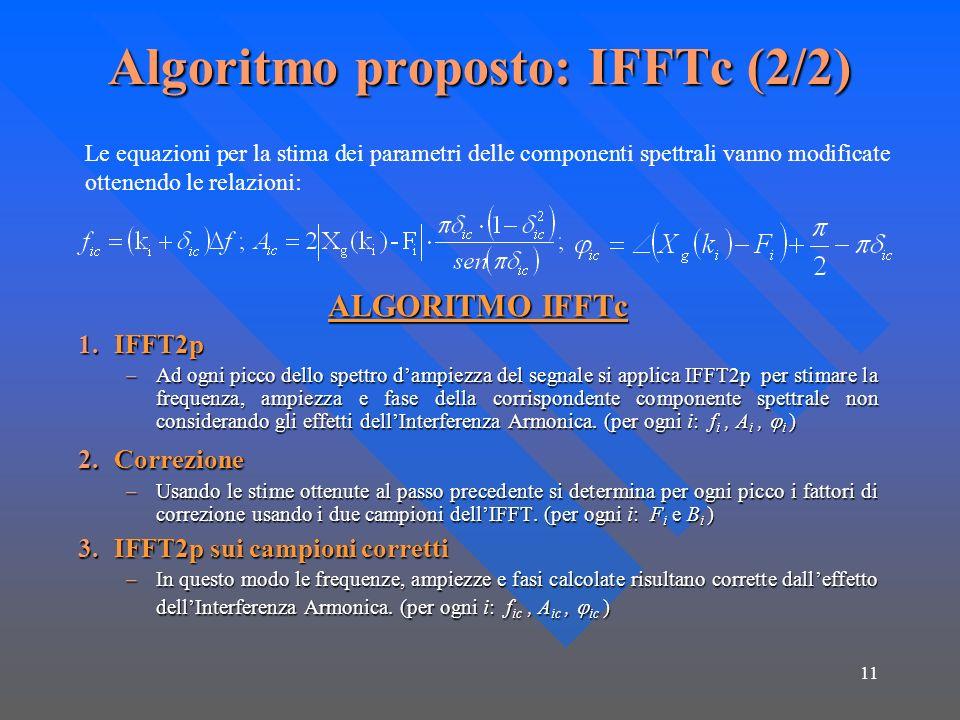 Algoritmo proposto: IFFTc (2/2)