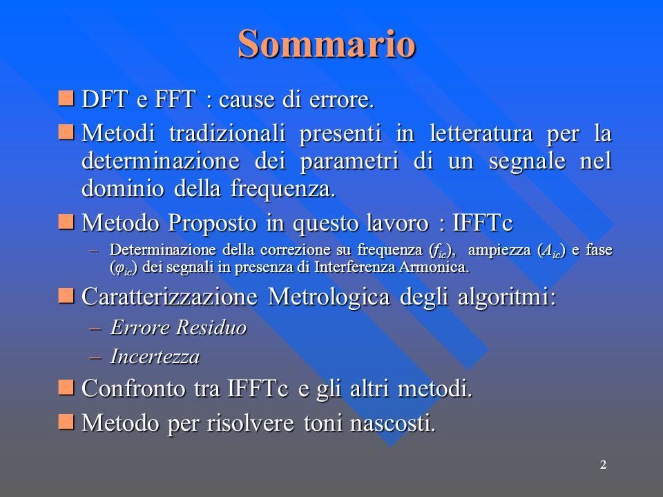 Sommario DFT e FFT : cause di errore.