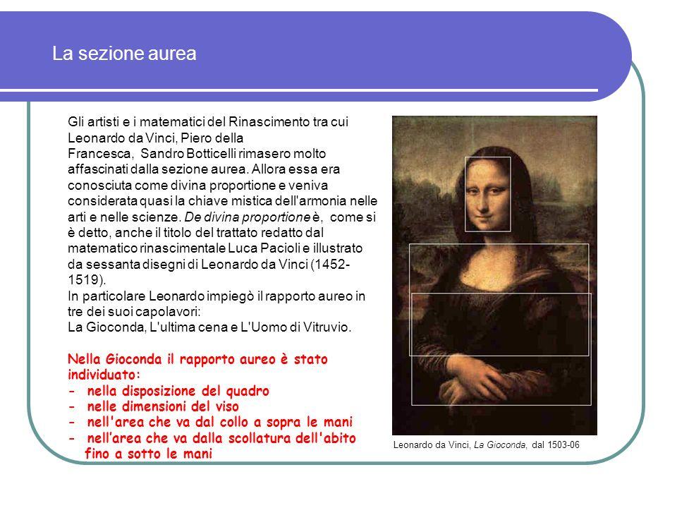 La sezione aurea Gli artisti e i matematici del Rinascimento tra cui Leonardo da Vinci, Piero della.