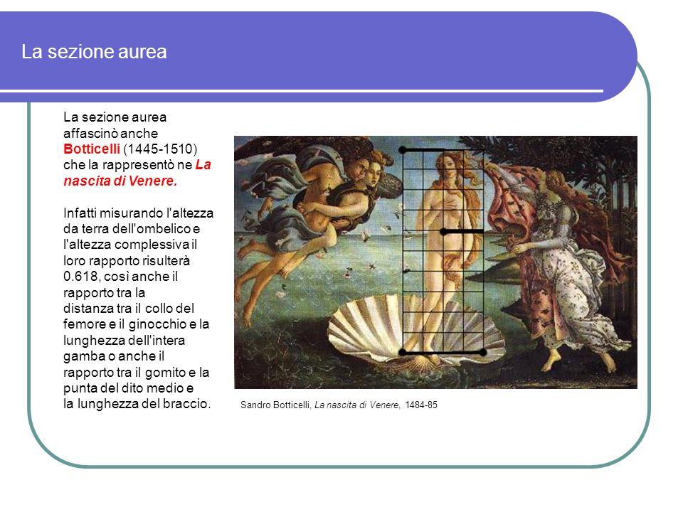 La sezione aurea La sezione aurea affascinò anche Botticelli (1445-1510) che la rappresentò ne La nascita di Venere.