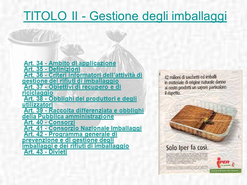 TITOLO II - Gestione degli imballaggi