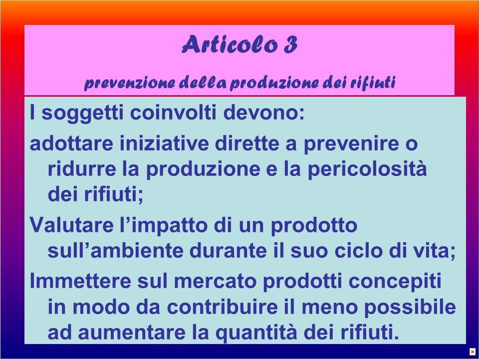 prevenzione della produzione dei rifiuti