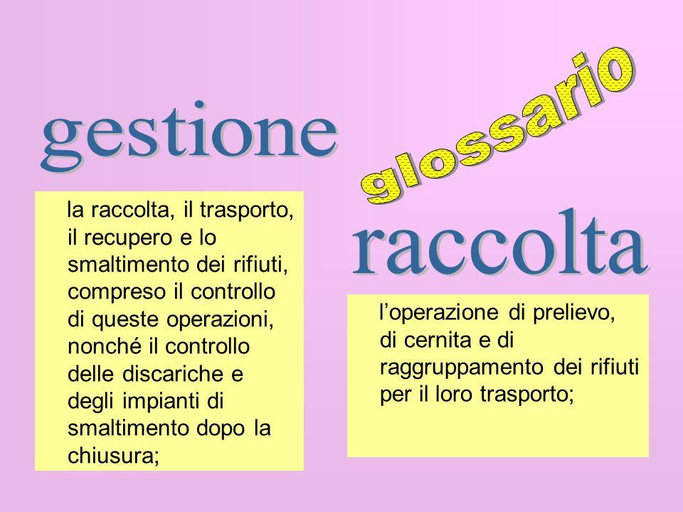 glossario gestione raccolta