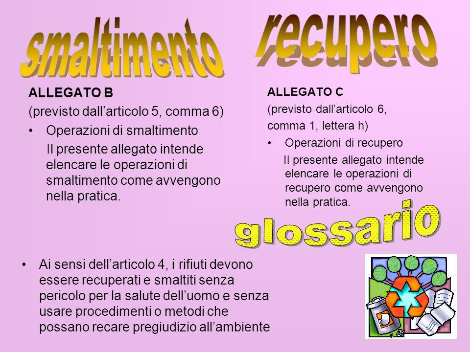 smaltimento recupero glossario ALLEGATO B