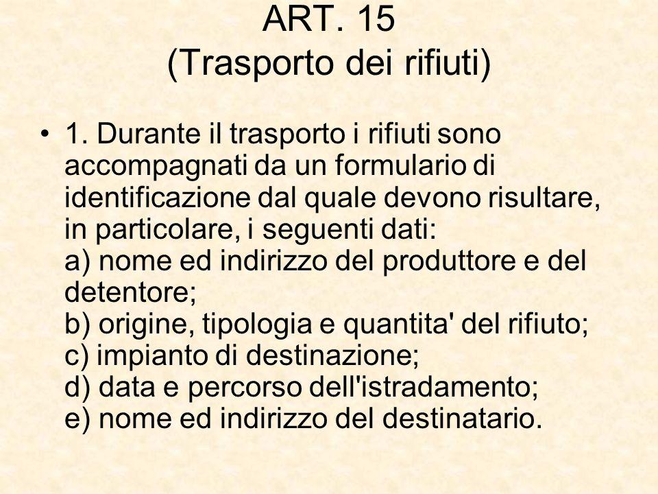 ART. 15 (Trasporto dei rifiuti)
