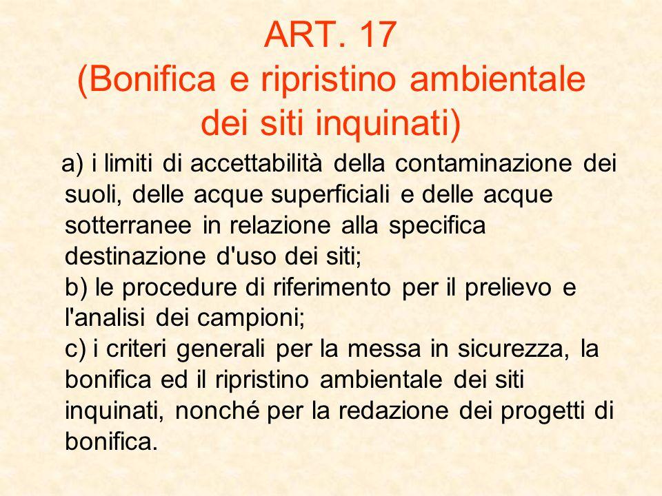 ART. 17 (Bonifica e ripristino ambientale dei siti inquinati)