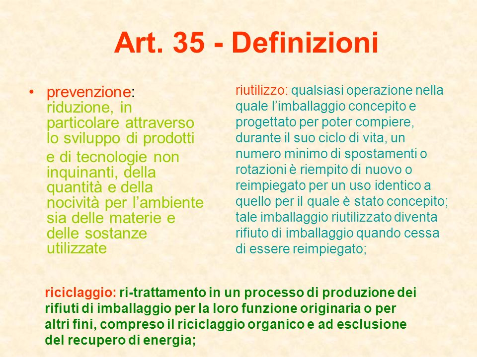 Art. 35 - Definizioni