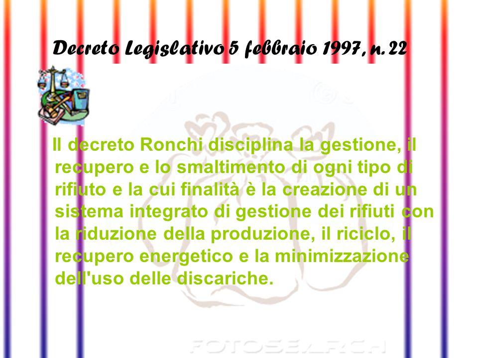 Decreto Legislativo 5 febbraio 1997, n. 22 (Decreto Ronchi)