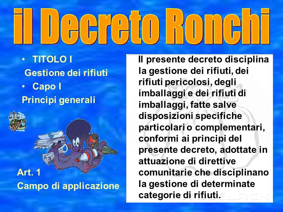 il Decreto Ronchi TITOLO I Gestione dei rifiuti Capo I