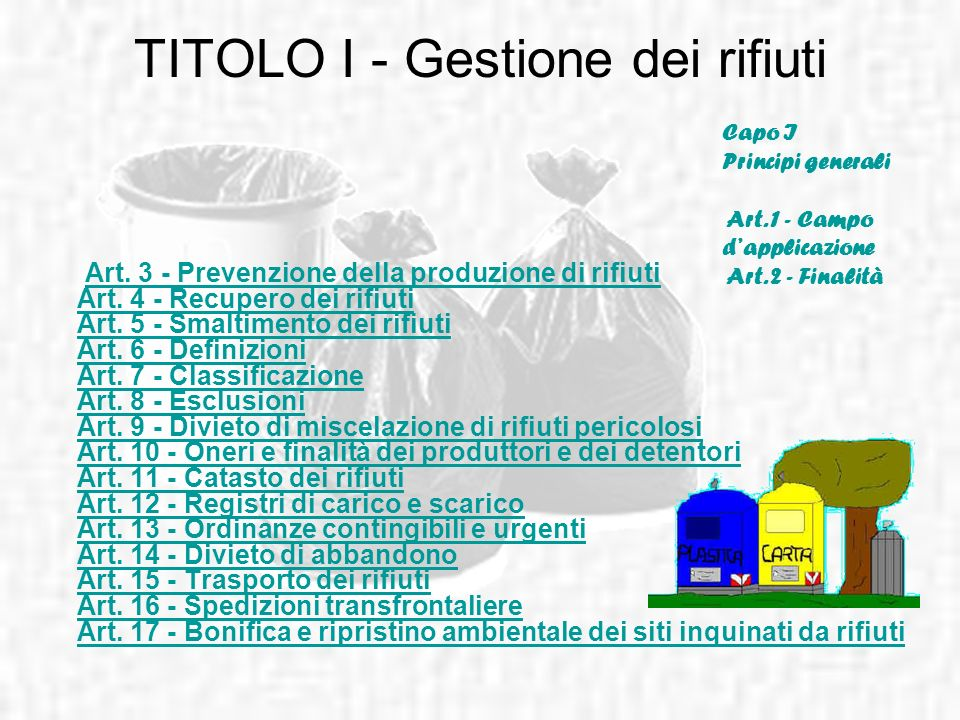 TITOLO I - Gestione dei rifiuti