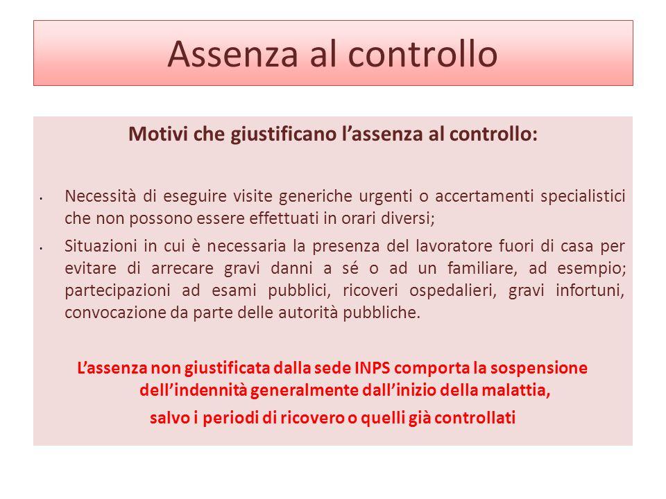 Assenza al controllo Motivi che giustificano l'assenza al controllo: