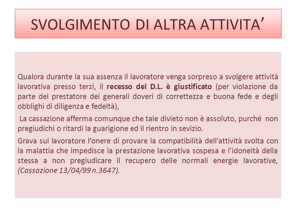 SVOLGIMENTO DI ALTRA ATTIVITA'