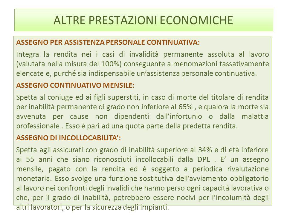 ALTRE PRESTAZIONI ECONOMICHE