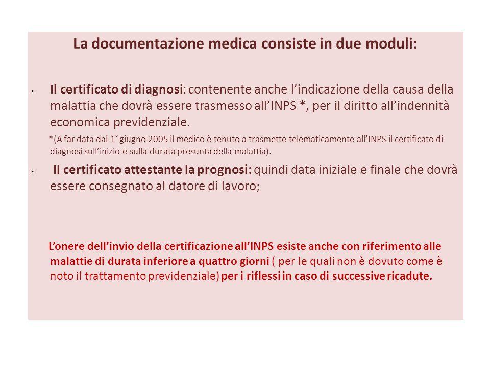 La documentazione medica consiste in due moduli:
