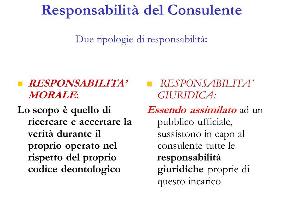 Responsabilità del Consulente Due tipologie di responsabilità: