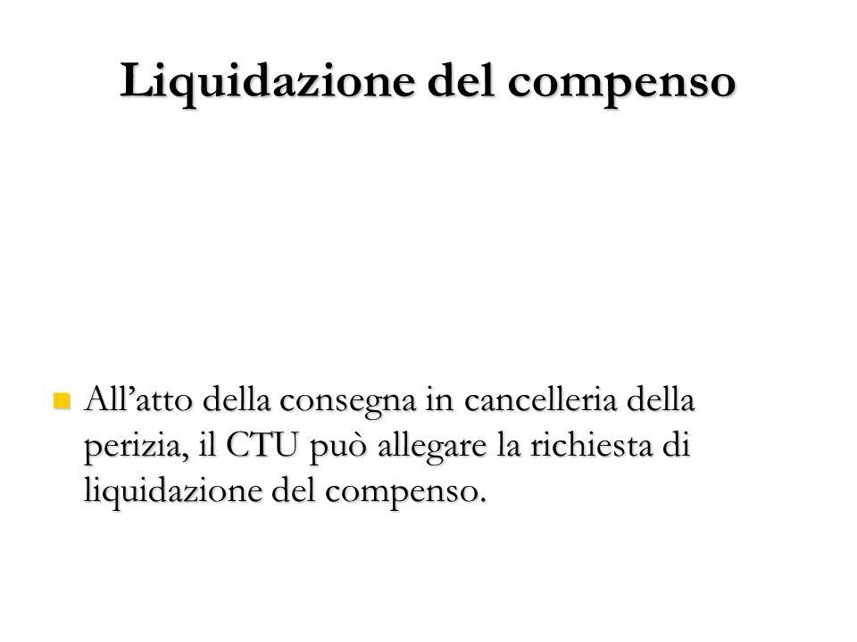 Liquidazione del compenso