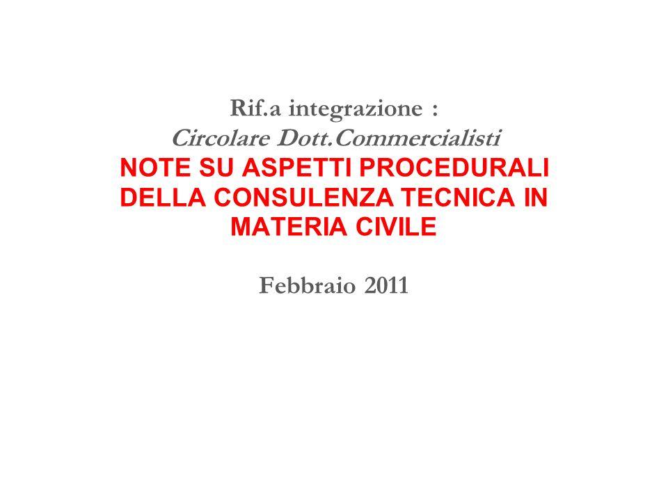 Rif. a integrazione : Circolare Dott