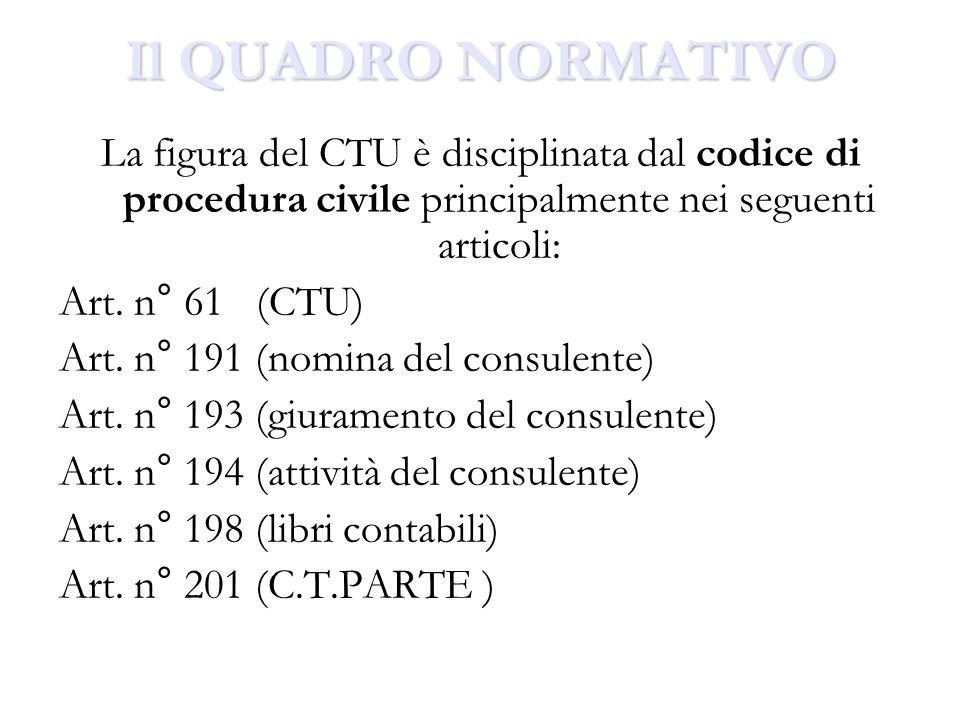 Il QUADRO NORMATIVO La figura del CTU è disciplinata dal codice di procedura civile principalmente nei seguenti articoli: