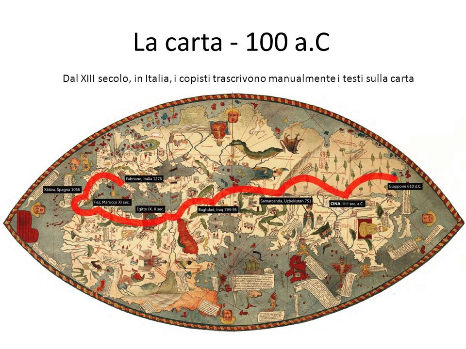 La carta - 100 a.C Dal XIII secolo, in Italia, i copisti trascrivono manualmente i testi sulla carta.