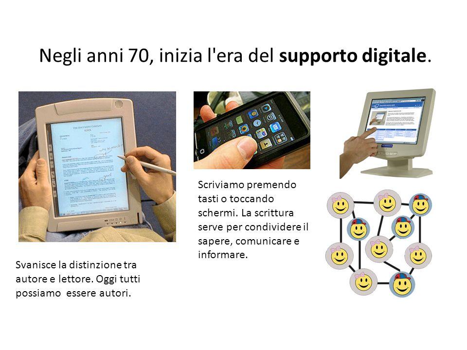 Negli anni 70, inizia l era del supporto digitale.
