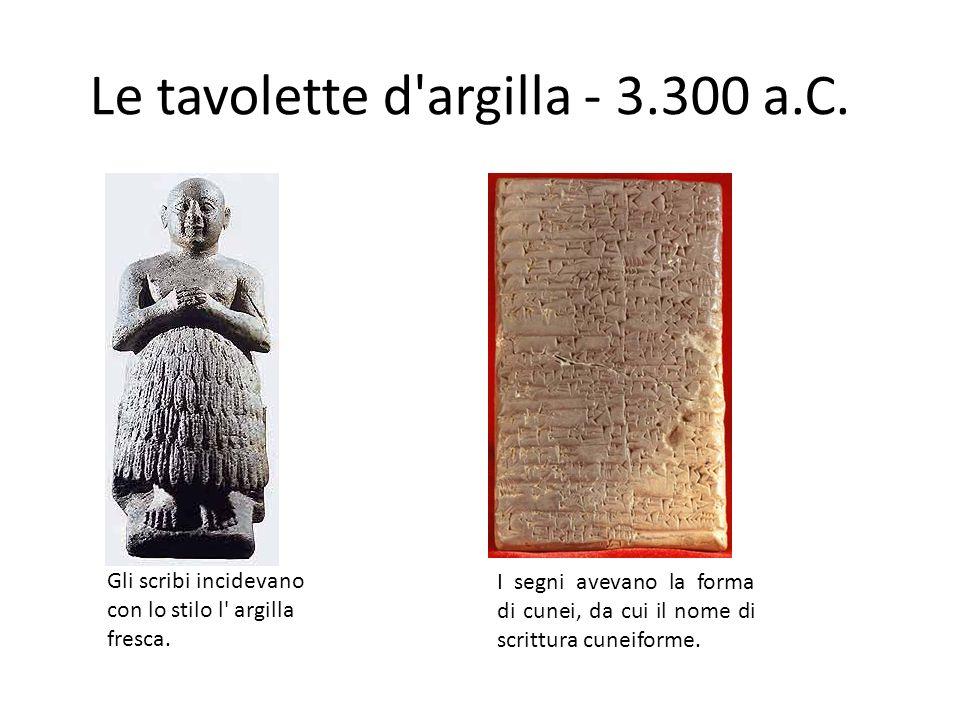 Le tavolette d argilla - 3.300 a.C.