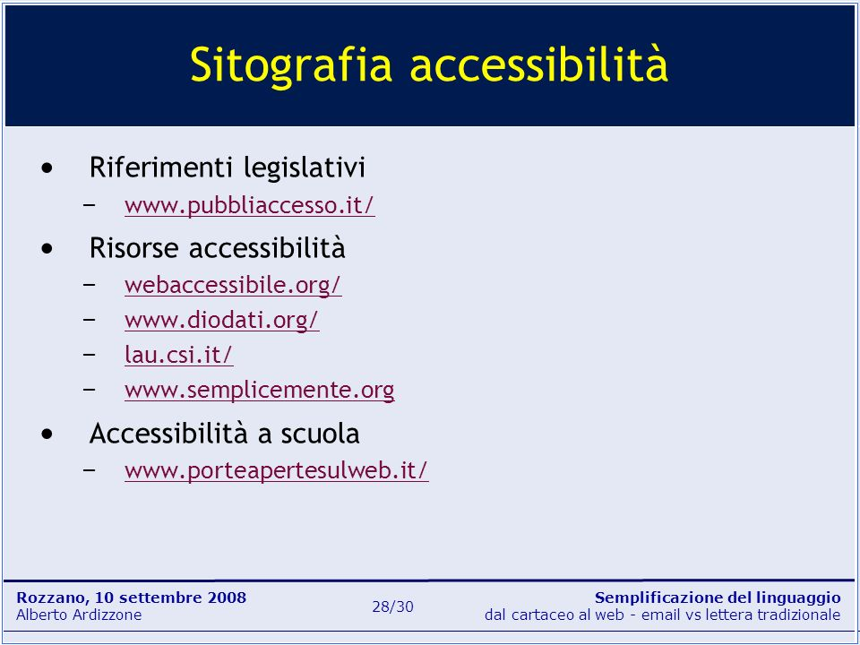 Sitografia accessibilità