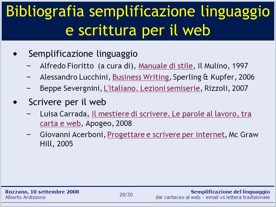 Bibliografia semplificazione linguaggio e scrittura per il web