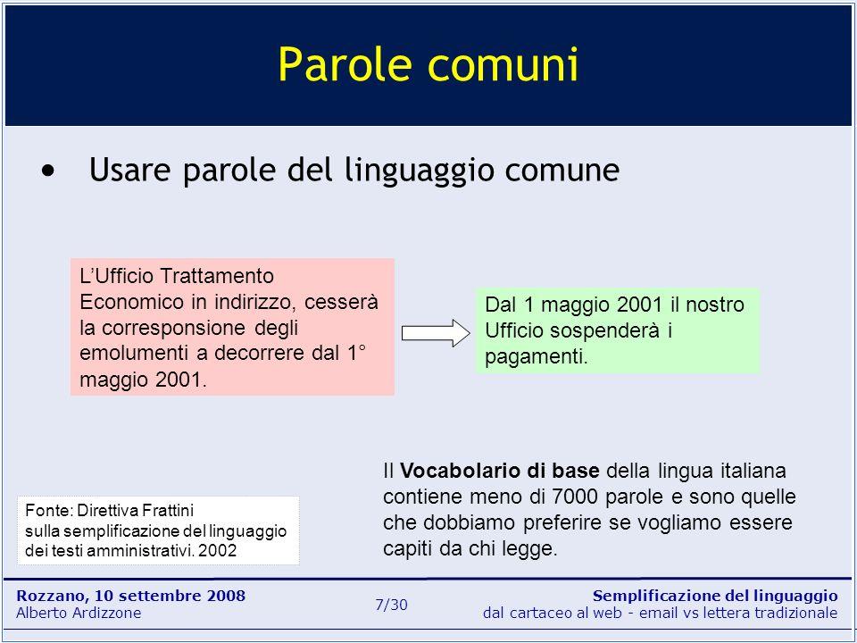 Parole comuni Usare parole del linguaggio comune