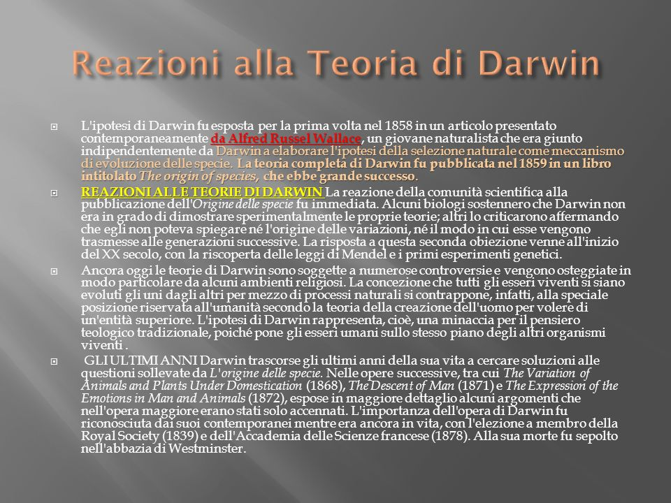 Reazioni alla Teoria di Darwin