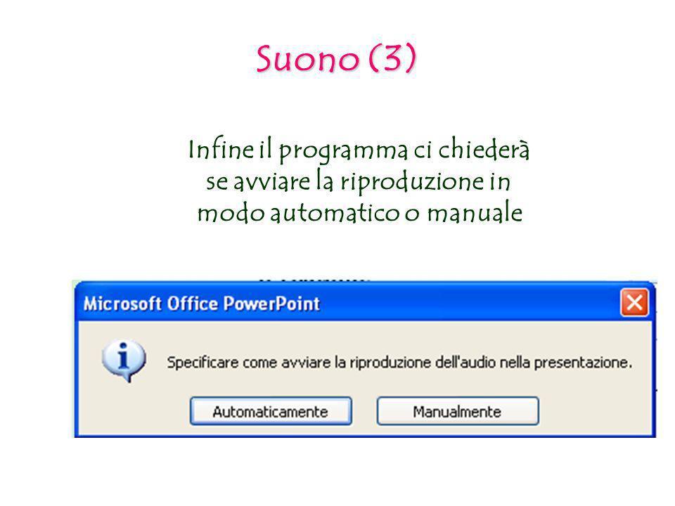 Suono (3) Infine il programma ci chiederà se avviare la riproduzione in modo automatico o manuale.