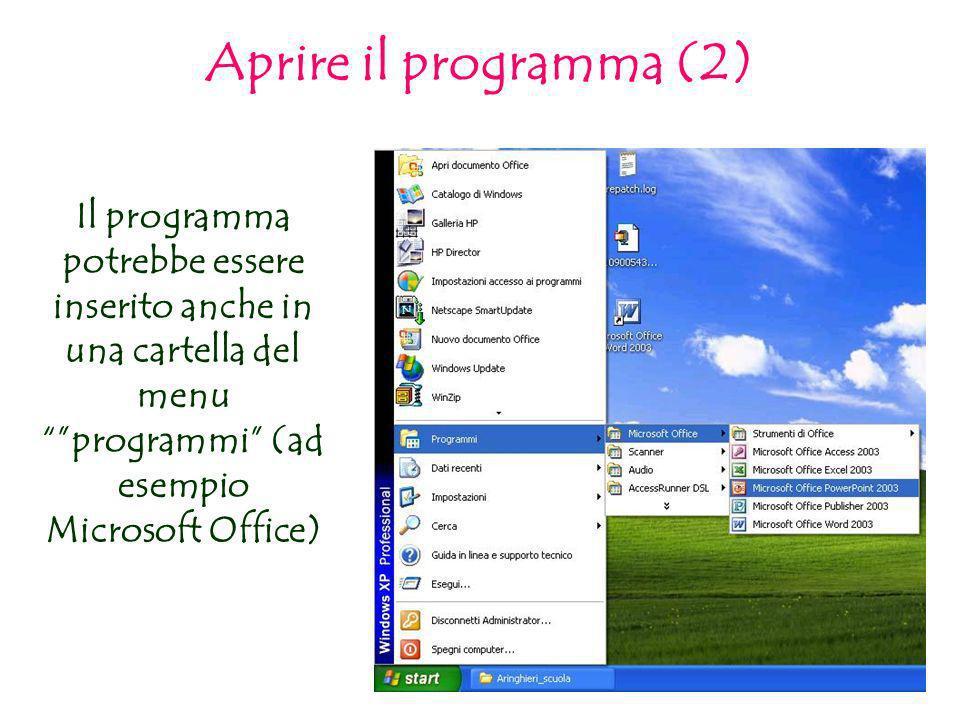 Aprire il programma (2) Il programma potrebbe essere inserito anche in una cartella del menu programmi (ad esempio Microsoft Office)