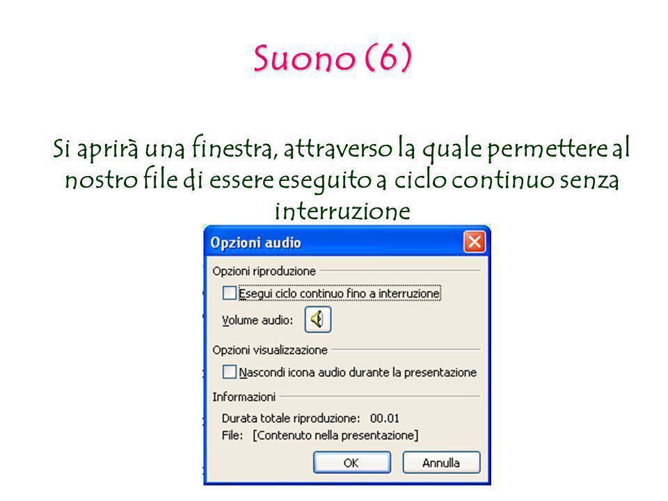 Suono (6) Si aprirà una finestra, attraverso la quale permettere al nostro file di essere eseguito a ciclo continuo senza interruzione.