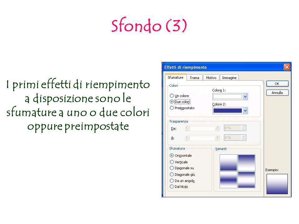Sfondo (3) I primi effetti di riempimento a disposizione sono le sfumature a uno o due colori oppure preimpostate.