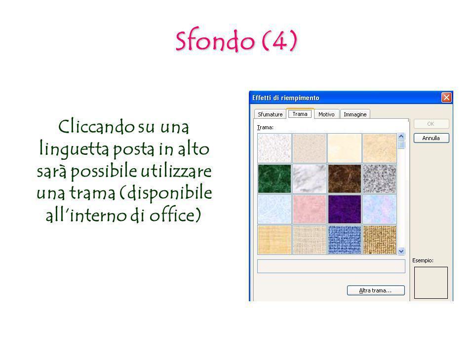 Sfondo (4) Cliccando su una linguetta posta in alto sarà possibile utilizzare una trama (disponibile all'interno di office)