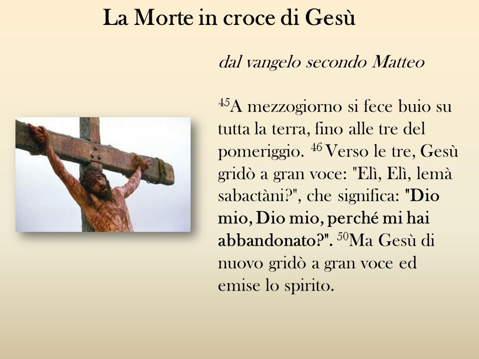 La Morte in croce di Gesù