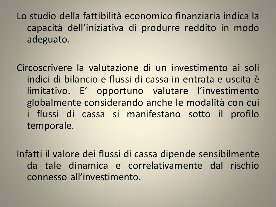 Lo studio della fattibilità economico finanziaria indica la capacità dell'iniziativa di produrre reddito in modo adeguato.
