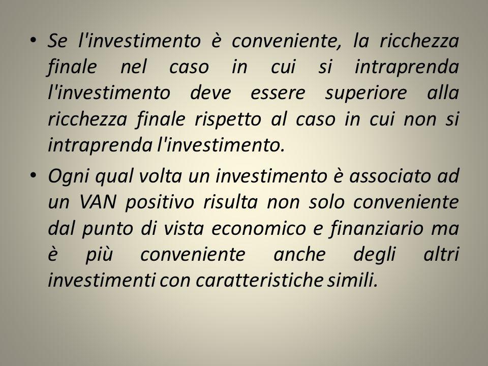 Se l investimento è conveniente, la ricchezza finale nel caso in cui si intraprenda l investimento deve essere superiore alla ricchezza finale rispetto al caso in cui non si intraprenda l investimento.