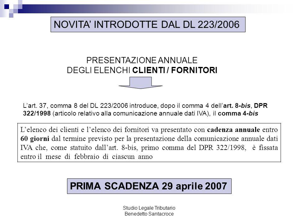 NOVITA' INTRODOTTE DAL DL 223/2006
