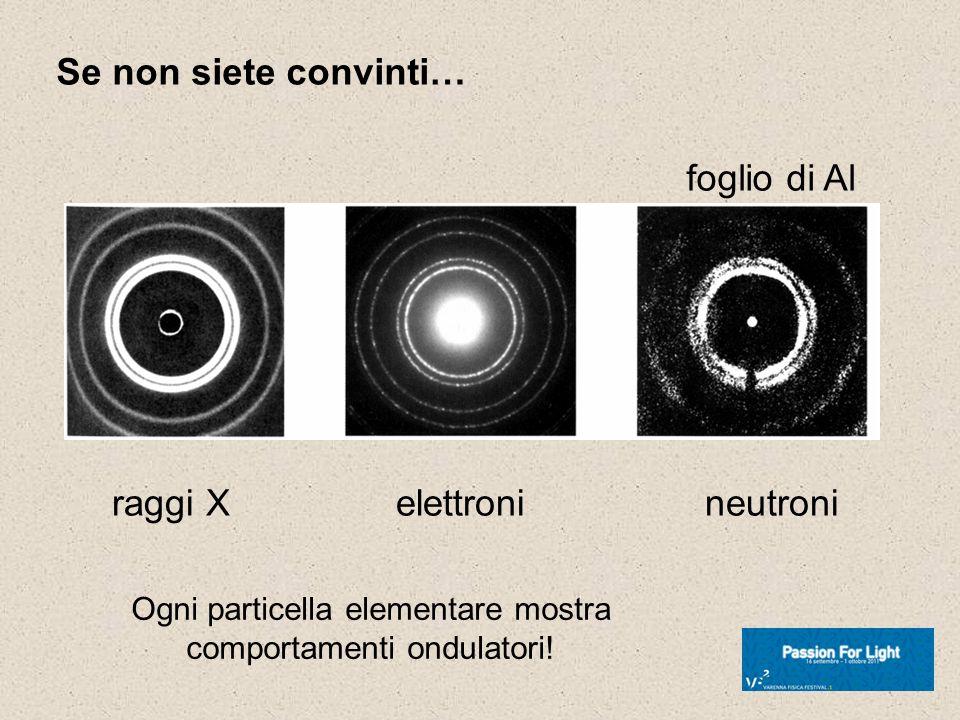 Ogni particella elementare mostra comportamenti ondulatori!
