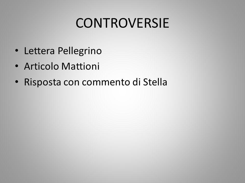 CONTROVERSIE Lettera Pellegrino Articolo Mattioni