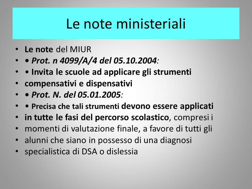 Le note ministeriali Le note del MIUR