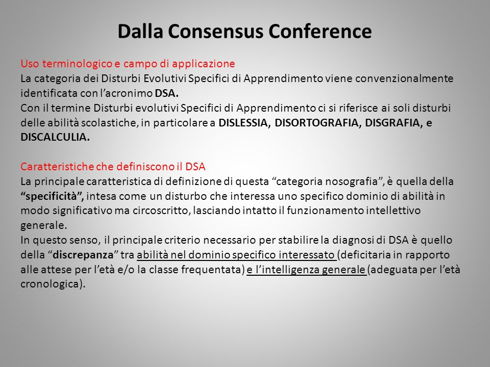Dalla Consensus Conference