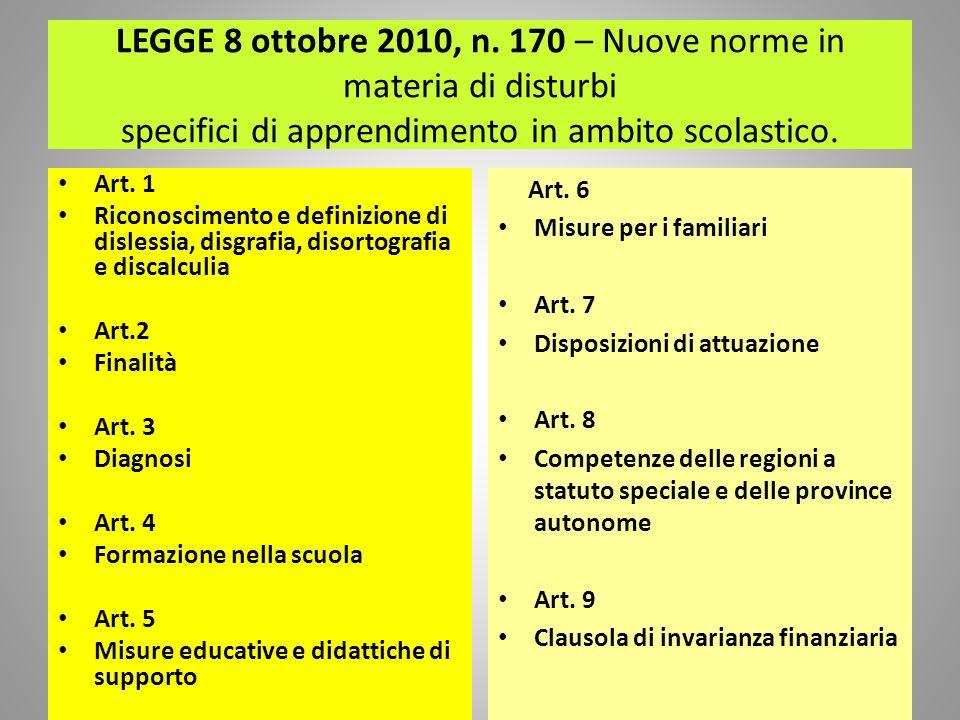 LEGGE 8 ottobre 2010, n. 170 – Nuove norme in materia di disturbi specifici di apprendimento in ambito scolastico.